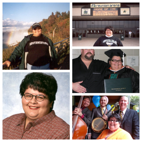 This is me, living.  In clockwise order from top left:  at Niagara Falls, in front of Reunion Arena when I worked for the NHL's Dallas Stars, graduating with my Masters degree, being serenaded at Commander's Palace, my portrait from when I was my school district's Secondary Teacher of the Year.
