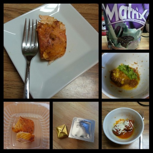 Today's food choices, clockwise from upper right:  Syntrax Matrix 5.0 Mint Cookie Protein Powder; fat free refried beans with cheddar cheese and guacamole; turkey meatballs in marinara with mozzarella; multivitamin and calcium supplement; Cajun baked salmon.