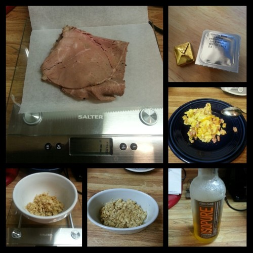 Today's food choices, clockwise from upper right:  multivitamin and calcium supplement x2; scrambled egg with diced ham and cheese; Isopure Zero Carb (10 ounces); 2 ounces homemade lettuce wrap filling x2; 1.5 ounce slice of cap-off inside round roast beef.