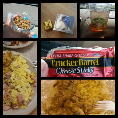 Saturday's food choices, clockwise from upper right:  Isopure Zero Carb in a Starbucks cup; Cracker Barrel cheese stick snack; pork in green chile sauce with refried beans and cheddar cheese taco (I ditched the tortilla); scrambled egg with ham plus hashbrowns (I ate half a forkful of the hashbrowns and pushed the rest away); 2 ounces Genghis Grill lettuce wrap filling.