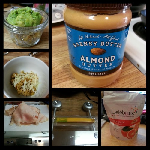 Today's food choices, from upper right:  a tablespoon of Barney Butter, a really smooth almond butter that spreads like smooth peanut butter but is made of a blend of regular and Marcona almonds (OMG YUM); multivitamin x2; Sargento reduced fat sharp cheddar cheese stick; Boar's Head Maple Glazed turkey; turkey picadillo taco filling with Monterey Jack cheese; and the same taco filling except with a little over a tablespoon of guacamole from Chipotle.