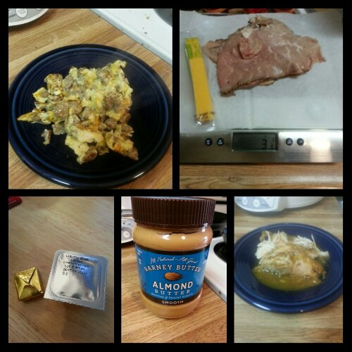 Today's food choices, from upper left:  scrambled egg with turkey sausage crumbles and a bit of cheese; roast beef from Central Market's deli and a Sargento reduced fat cheese stick; turkey breast with 40 cloves of garlic and pan gravy; Barney almond butter; multivitamin and calcium supplements x2.  I forgot to snap a photo of the ham slices I snacked on in the store that I got at the deli counter. :(