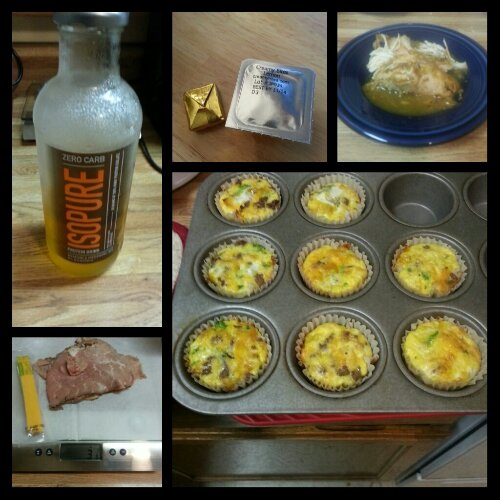 Today's food choices, from upper left:  Isopure Zero Carb; multivitamin and calcium supplements x2; 40 cloves of garlic turkey breast with pan gravy; mini turkey sausage, broccoli and cheese frittatas x2; sliced roast beef and Sargento reduced fat cheddar cheese stick.  I forgot to snap a picture of the crockpot chicken fajitas I ate for lunch.  :(