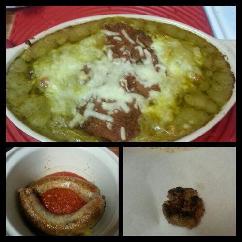 Top:  Green chile chicken casserole.  Bottom left:  Italian sausages, peppers and onions in marinara.  Bottom right:  homemade chipotle maple pork breakfast sausage.
